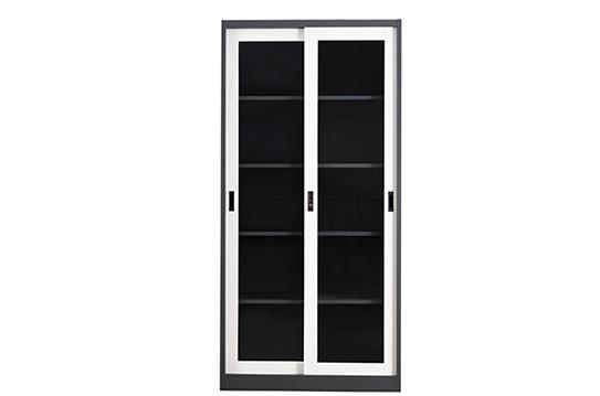钢制文件柜-套色玻璃移门柜(五层)