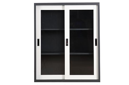 钢制文件柜-套色玻璃移门柜(三层)