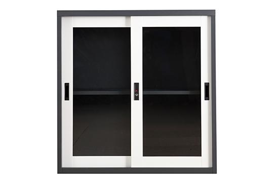 钢制文件柜-套色玻璃移门柜(两层)
