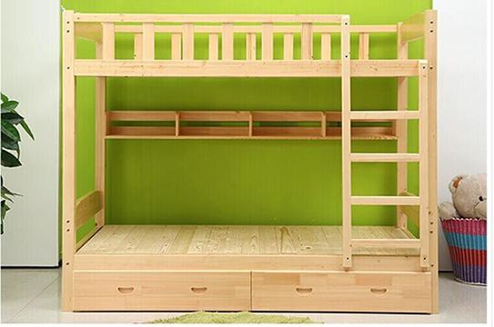 实木公寓床、实木双层床-(带柜版)
