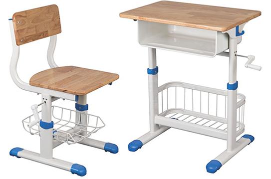实木课桌椅-手摇升降