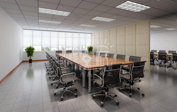 多功能会议室设计方案,此会议桌由多张小会议桌组合而成,可随意
