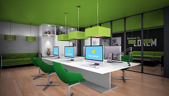 白绿清新风办公室解决方案GBA014